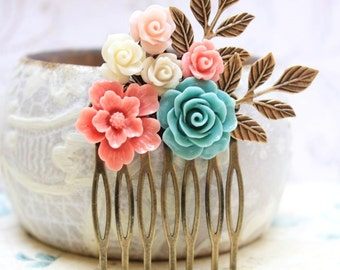 Flower Hair Comb Bridal Flowers for Hair Leaf Rustic Branch Hair Accessories Teal Blue Rose Comb Coral Wedding Bridesmaids Jewelry