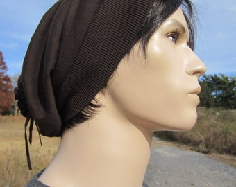 Brown Long Back Knit Hat Slouchy Beanie Cocoa Leather Tie Back Wrap Cotton Tam A1103