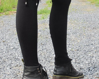 Black Cashmere Thigh High Socks Over the Knee Socks Leg Warmers with Beaded Leather & Chainss Trim A844C