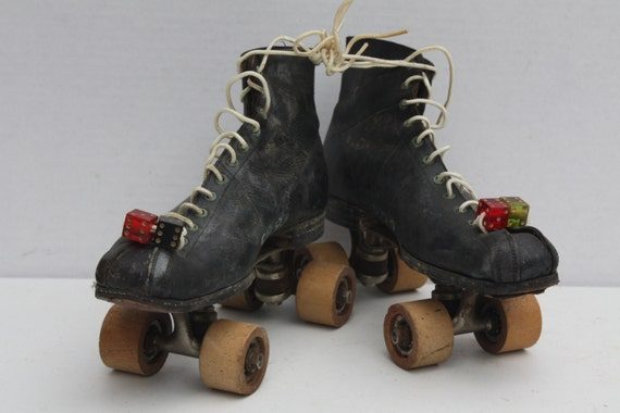 Vintage Roller Skates Black Leather Mens Wooden By Cybersenora