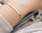 Skinny Chevron Bar Bracelet - 14k Gold Filled or Sterling Silver Chevron Bar, Arrow Stamped Bar, Minimalist Layering Jewelry, Gifts for Her