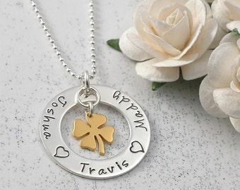 Four Leaf Clover Eternity Mother's Necklace - sterling silver and gold combo