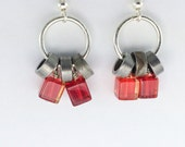 cycling bike jewelry red glass earrings bicycle jewelry