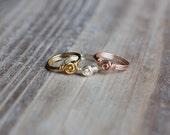 Wire Wrapped Ring - Silver, Gold, Rose Gold - Small Rosette - Tiny Delicate Ring - Gift for Her
