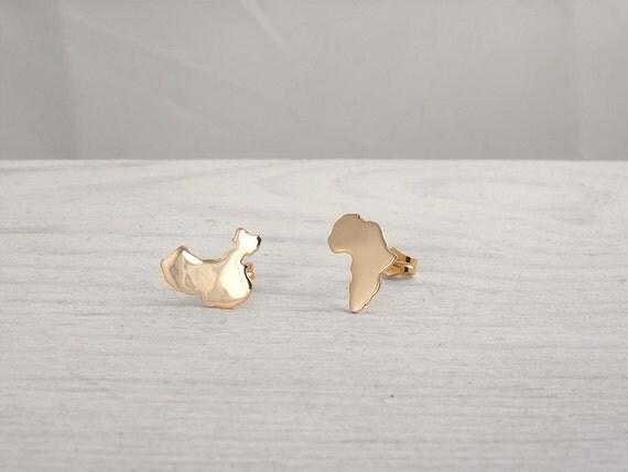 africa map stud earrings