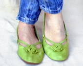 Green Alert - Handmade Leather ballet flat shoes - CUSTOM FIT