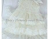 Ivory Rustic Lace Chiffon Dress ....Flower Girl Dress, Wedding Dress, Baptism Dress  (Infant, Toddler, Child)