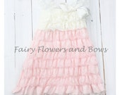 CLEARANCE....Ivory and Pink  Lace Petti Dress with Matching Headband  size 3m, 6m, 9m, Baptism, Flower Girl, Wedding, Party Dress
