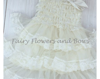 CLEARANCE..Ivory Rustic Lace Chiffon Dress ....Flower Girl Dress, Wedding Dress, Baptism Dress  (Infant, Toddler, Child)