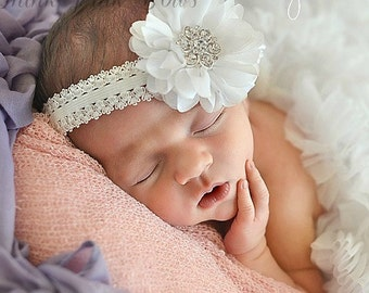 Christening Headband,white baby headband,newborn headband, baby girl headband,baptism headband, infant headband, Baby hair bows.
