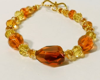 Autumn Jewelry Brown & Gold Crystal ~ Faceted Glass Chunk Beads Bracelet