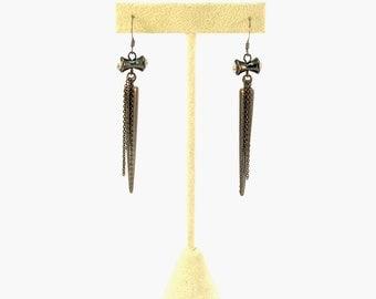 Gunmetal Spike Charm and Thin Chain Dangling Earrings, ER-0064