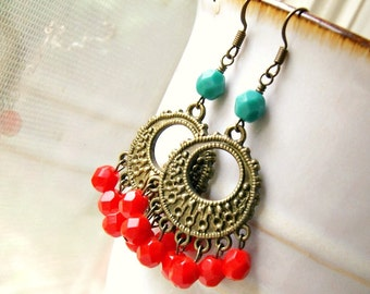 gypsy girl brass beaded chandelier earrings, french hook, red aqua