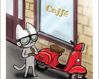 "Cafe Moto - fine art print 5""x5"""