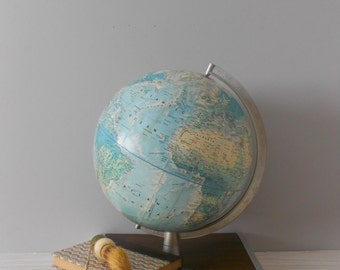 rand mcnally world globe // raised relief atlas // 12 inch // blue