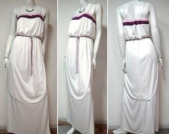 Slinky 1970s Vintage White Maxi Dress