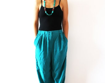 vintage LIZ CLAIBORNE 100% silk tapered teal pants / lightweight turquoise trousers