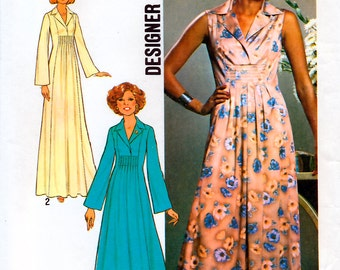 Simplicity 7794 Designer Fashion Vintage 70s Misses' Dress in Two Lengths Sewing Pattern - Uncut - Size 10 - Bust 32.5