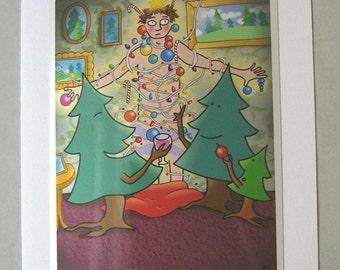Weird Funny Christmas Card 5x7 A7, Xmas card, holiday greeting card, christmas trees card