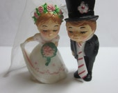 Vintage Wedding Bride and Groom Cake Topper Miniature Plastic Kissing Figures