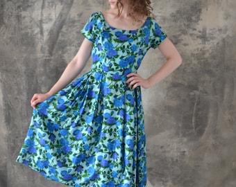 1950s Blue Rose Watercolor Dress