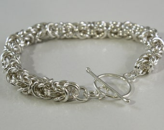 Byzantine Bracelet, Argentium Sterling Silver,  Large with toggle or lobster clasp, Mother's bracelet,  Custom made