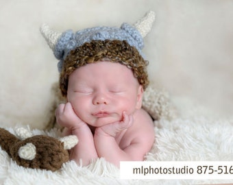 PDF Instant Download Crochet Pattern No 273 Viking Set Hat and Diaper Cover Chunky yarn photo prop sizes preemie, newborn. 0-3, 3-6 months
