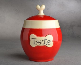 Dog Treat Jar Made To Order Red with White Trim Treat Jar by Symmetrical Pottery