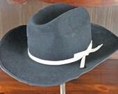 Vintage Black Cowboy Hat - Black Wool - Pilgrim Westerner Fiesta Hat