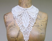 Vintage 1920s Collar / 20s Ivory Cotton Lace Collar and Inset