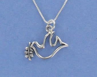 DOVE of PEACE Necklace - 925 Sterling Silver - on Gift Card with Quote About Peace