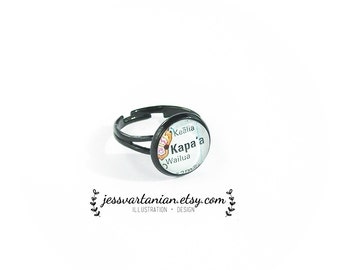 Custom Map Location Black Lacquer Ring