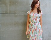 Feather print dress, Summer dress, Bridesmaid dress, Whimsical dress