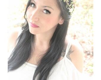 NATURAL Flower Crown, Wedding Headpiece, Bridal Tiara, Hair Flower - HOPE - by DeLoop