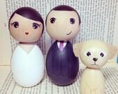 Custom Kokeshi Doll Wedding Cake Toppers with 1 pet