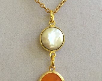Coin Pearl and Tangerine Crystal Necklace