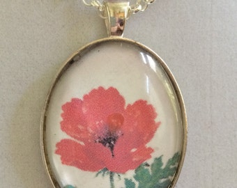 Red Poppy Silver Pendant