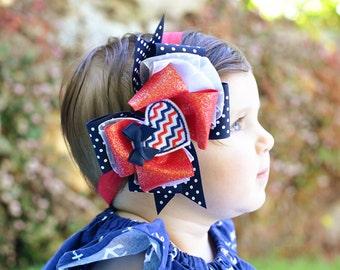 Baby Bow,4th of July Chevron Heart Bow, Baby Headband, Fourth of July Headband, Red Bow, Navy Bow, 4th of July, Baby Headband
