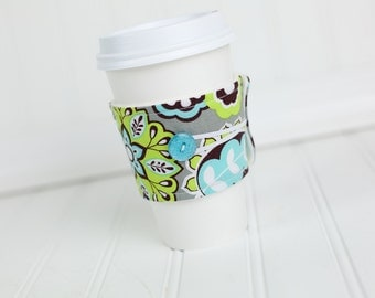 Coffee Sleeve Coffee Cozy Grey Lime Green Aqua Blue Floral for Women Girls