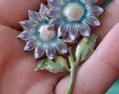 Purple Enamel Flower Brooch