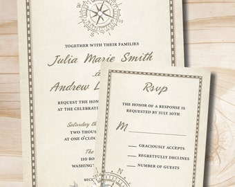 RUSTIC COMPASS Wedding Invitation/Response Card - 100 Professionally Printed Invitations & Response Cards