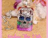 Friday the 13th Rainbow Day of the Dead Sugar Skull Resin Necklace, Hipster, Goth, Scene ,  By: Tranquilityy