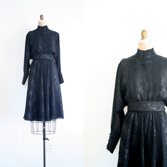 magical black dress - sparkly / New Wave - batwing sleeves / vintage 80's - punk