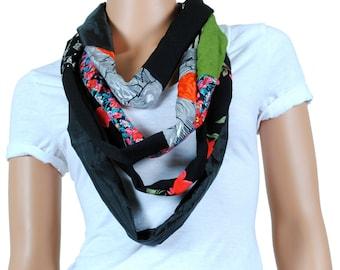 Scarf - Infinity Scarf - Womens Chunky Black Floral Print Scarf