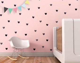 Baby Nursery Wall Decal Valentines Hearts Wall Decor Black Nursery Baby Girl Decor. Hearts Children Wall Decal