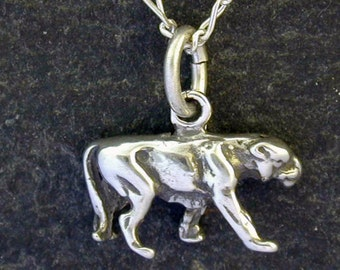 Sterling Silver Cougar, Catamount, Puma, Panther, Mountain Lion Pendant on Sterling Silver Chain.