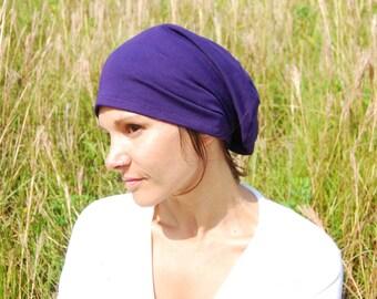 Slouchy Hat - Boho - Unisex Beanie - Eggplant - Organic Clothing - Eco Friendly