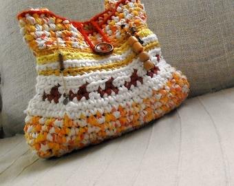 Crochet bag - Desert scene - rag crochet bag tapestry crochet orange yellow red shoulder bag