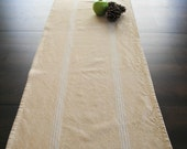 Farmhouse table runner - natural with white stripes- large