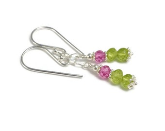 Peridot and Pink Topaz Earrings, Sterling Silver, Dangle Earrings,  August Birthstone, Semi Precious Gemstone Earrings